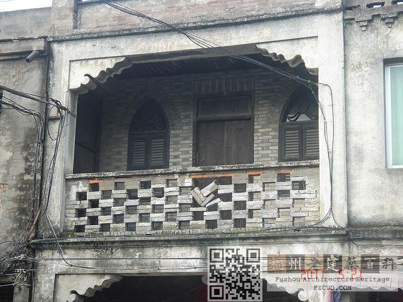 """目前遗留的骑楼街上装饰较为丰富的一幢房子(来源:""""财经预言家""""博客)"""