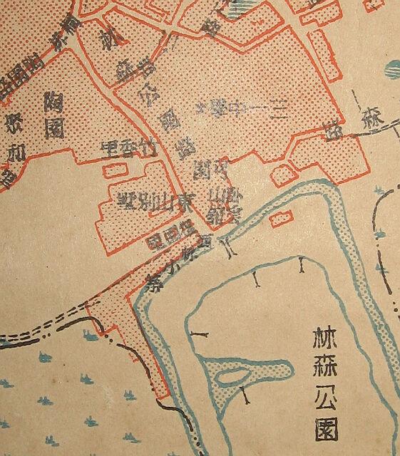 """1949年的公园路区域地图,可见公园路""""可园""""(来源:《中华民国三十八年·最新福州市区详图》,福建省图书馆藏,翻拍:EdDuck)"""