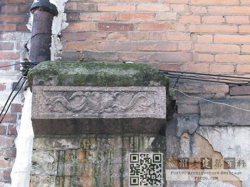 巷下路12号南立面(面街)残留柱头的图案(拍摄:nenva,2012年5月)