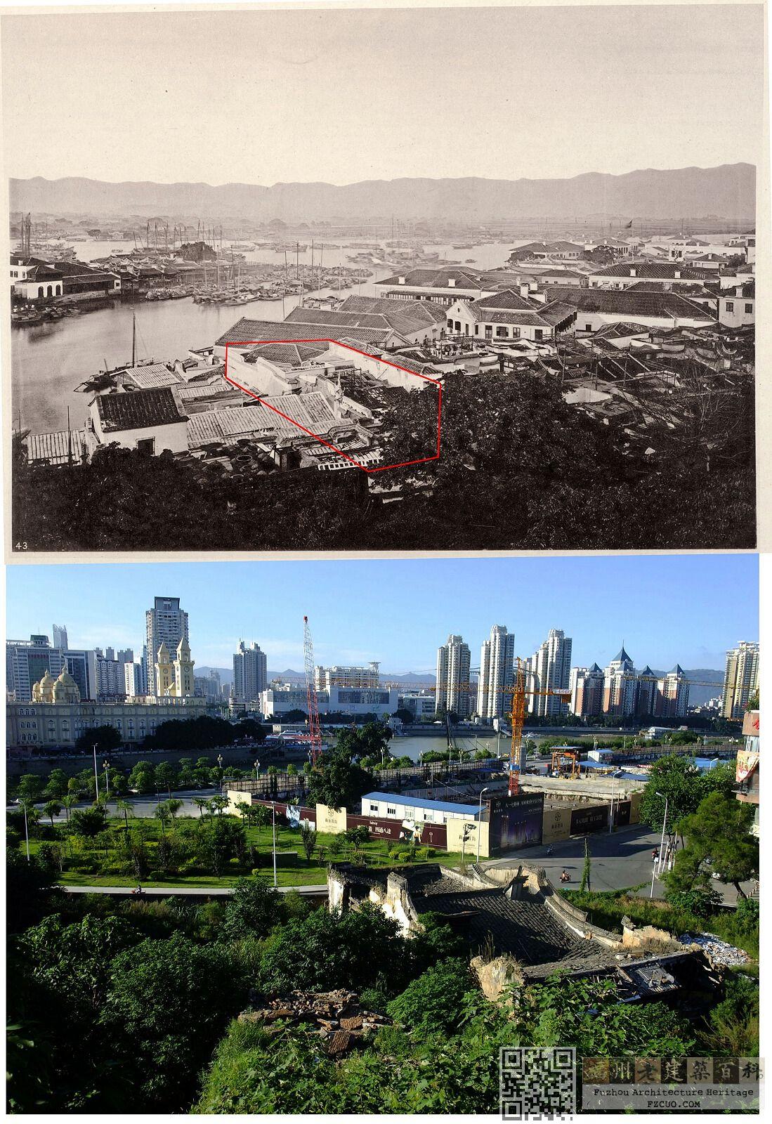 百年对比:从烟台山望洪宅(上图:来源不明,约摄于20世纪初;下图:nenva摄于2012年8月)