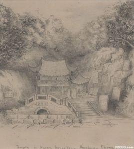 早期洋人绘制的鼓山灵源洞铅笔速写(来源:Josef Lebovic Gallery)